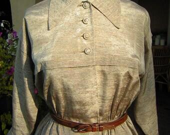 Vintage 1940s Peplum Dress Suit Slubbed Rayon - WWII Swing Era - Small to Medium CLEARANCE