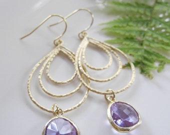 Purple Teardrop Earrings, Gold Chandelier, Large Hoop Earrings, Bridesmaid Earrings, Mothers Day Gift