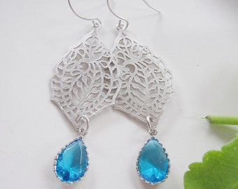 Silver Filigree Earrings, Blue Teardrop, Glass, Long Dangles, Paisley, Bridesmaid Jewelry, Ocean Blue, Wedding Jewelry, Gardendiva
