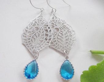 Silver Paisley Dangle Earrings, Blue Glass Drop, Bridesmaid Jewelry, Wedding Jewelry, Gardendiva