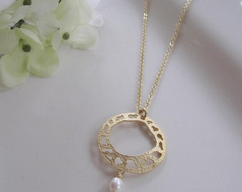 Gold Hoop Necklace, Circle Pendant, Gold Infinity Circle, Pearl Drop, Textured Pendant, Modern, Boho Necklace