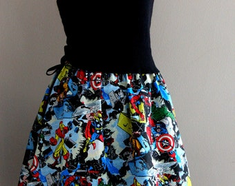Avengers Skirts, Womens skirts, Superhero Skirts, Novelty Skirts, Marvel Comics, Comic Book Skirt, Novelty Clothing, tintiara skirts