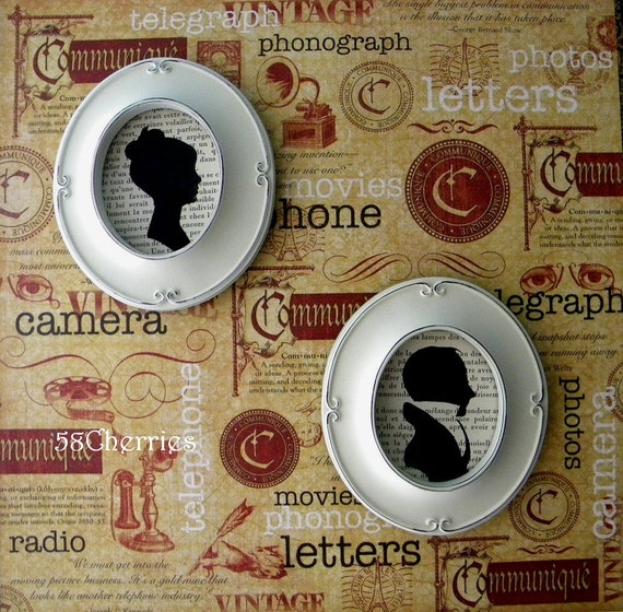 Jane Austen Style Silhouettes Framed in Oval Antique White Frames on Vintage French Text - Shabby Chic Decor