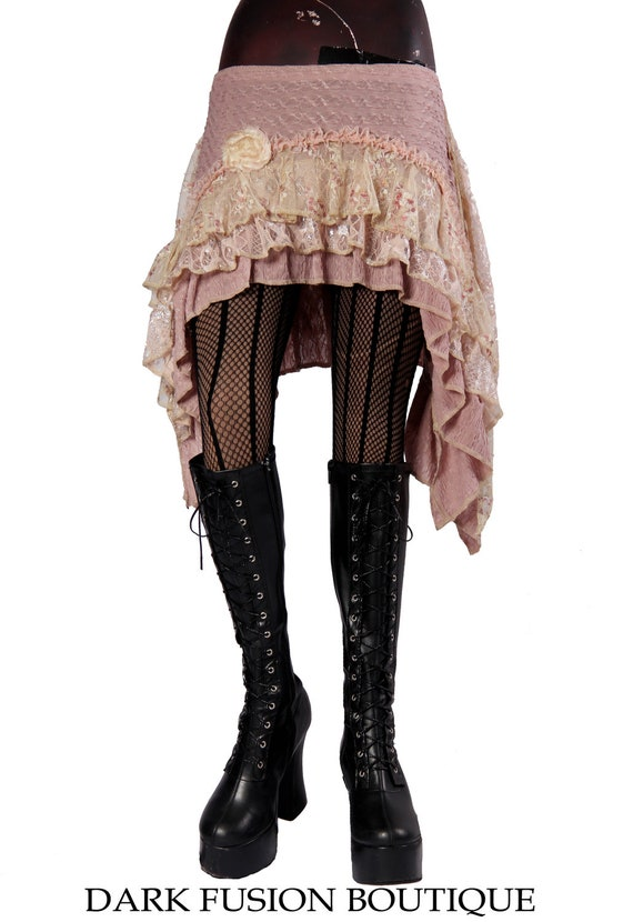 Skirt, Light Earthy Salmon Pink, Antiqued Creams, Lace, Vintage Style, Ruffles, Belly Dance, Fusion