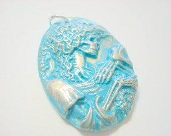 Turquoise Silver Metallic Lolita Skeleton Day of the Dead Pendant