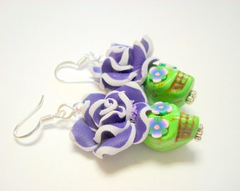 Green and Purple Day of the Dead Floral Sugar Skull Earrings Medium
