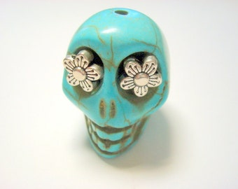 Gigantic Turquoise Howlite Skull Bead or Pendant  with Silver Daisy Eyes