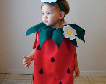 Pre-Order... Guaranteed Delivery By 10/28... Baby Costume Strawberry Costume Infant Toddler Costume  Halloween Costume