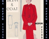 Vintage Sewing Pattern 1930's Dress and Raglan Sleeve Coat in Any Size Depew 1735- PLUS Size -Draft at Home Pattern -INSTANT DOWNLOAD-