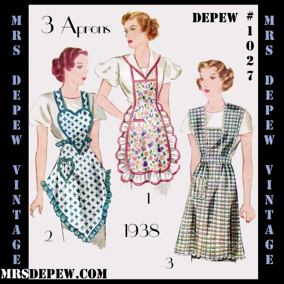 Vintage Aprons, Retro Aprons, Old Fashioned Aprons & Patterns 3 Styles 1930s Digital Print-At-Home Depew 1027 -INSTANT DOWNLOAD- $9.50 AT vintagedancer.com