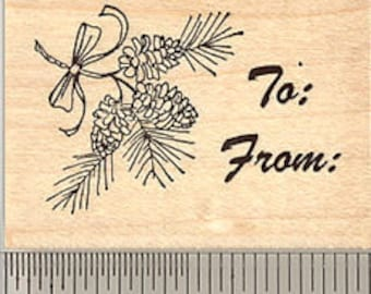 Pine Bough Gift Tag Rubber Stamp G5307 Wood Mounted