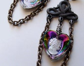 Isolde cameo assemblage earrings . moody poetic gothic romantic vintage rainbow glass cameos hearts eternity celtic knot love wedding gift