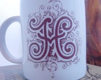 Personalized monogram, initial, letter mug