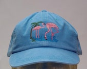 PINK FLAMINGO Bird Hat - One Embroidered Wildlife Cap - Price Embroidery Apparel - 24 Color Caps Available