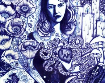 Blue Portrait of Sylvia Plath - 8x10 limited edition archival giclee print