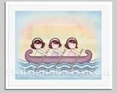 Nursery art prints baby nursery decor children's wall art kids art three sisters girls art row your boat brown hair Stronger