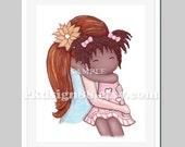 Adoption art print, kids wall art for nursery decor, adoption gift, Mother's Day, mom red hair, African girl My sunshine 8x10