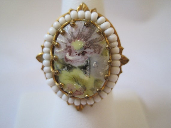 Vintage Ring - Painted Flowers - Adjustable