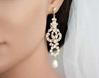 Bridal Earrings Gold wedding jewelry Golden Shadow Crystal Champagne Chandelier earrings Wedding Earrings FRANCES