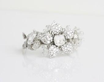 Wedding Cuff Bracelet Rhinestone Flower Cuff Bracelet Silver Bridal Bracelet  Crystal Cuff Swarovski Wedding Jewelry, KATE