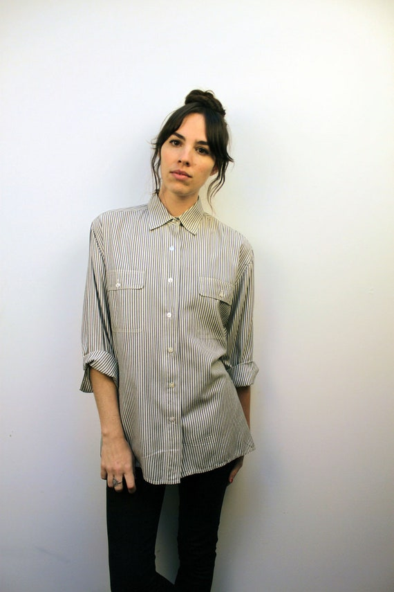 1980s SILK Grey Striped Button Up Oxford Size S-M