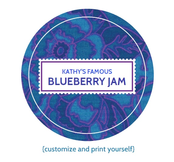 EDITABLE Custom Printable Canning Labels In Blue YOU