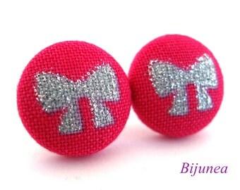 Glitter pink ribbon stud earrings- Ribbon earrings - Bow earrings - Ribbon post earrings - Ribbon posts - Ribbon studs sf907
