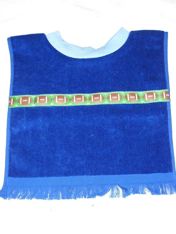 Baby Bib Terry Cloth Towel Handmade Royal Blue with Football Trim