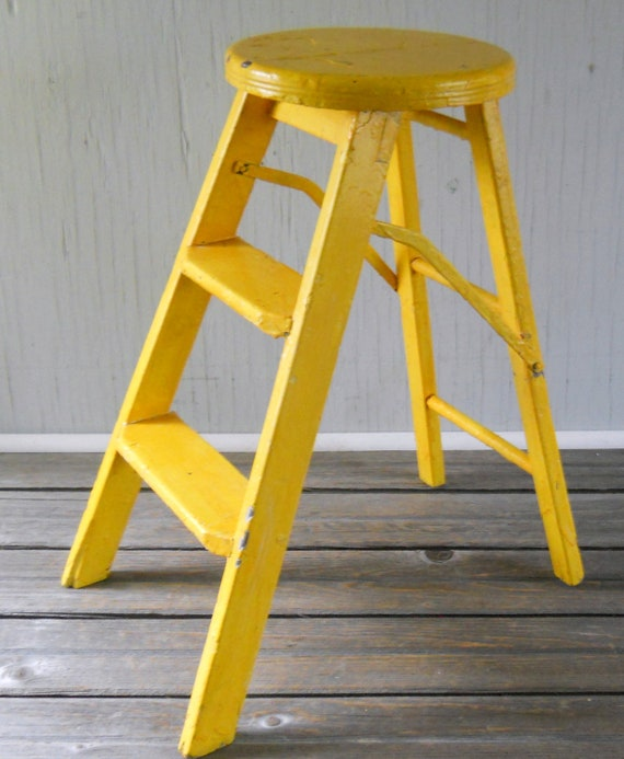 Vintage Folding Step Ladder Stool Yellow