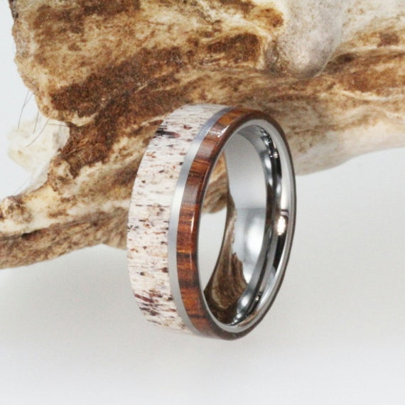 Personalized Mens Wedding Band Deer Antler Ring Inlaid with