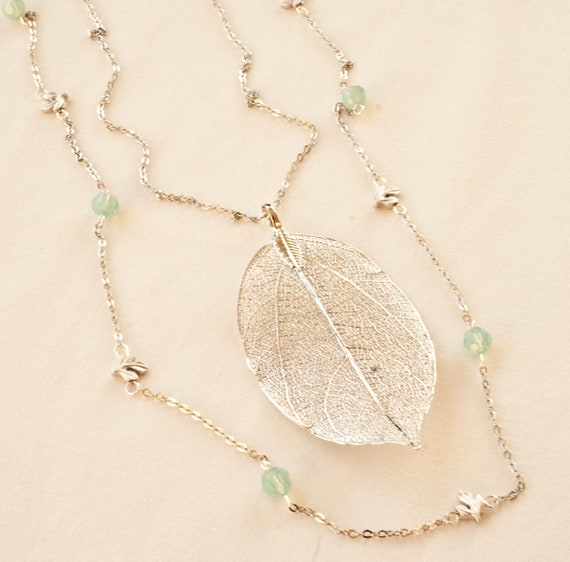 Double Strand Long Silver Leaf Necklace