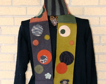 Autumnal Dotty Winter Scarf - made from recycled, felted wool sweaters in the colors of Fall
