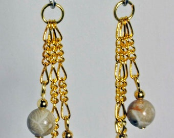 Michigan Petoskey stone beaded earrings on gold chain fossils created in Michigan