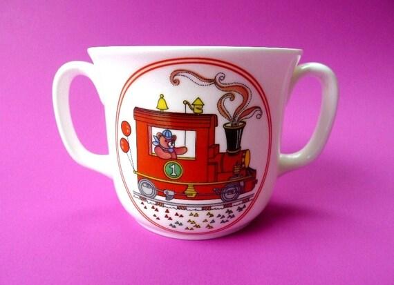 Vintage Child's Cup Bears Train by Sango Bone China Double Two Handle Mug - Treasury Item - Originally 10.00 Now 8.00
