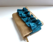 Bible Cover - Brown Linen with Peacock Ruffle - Burlap Look - Custom Fit