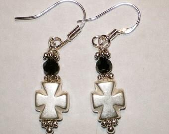 SILVER MALTESE CROSS  Earrings