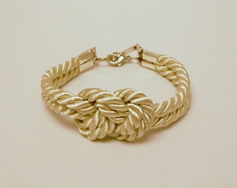 Ivory cream champagne infinity knot nautical rope bracelet with silver skeleton key charm