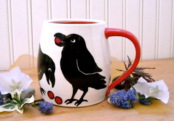 Raven Coffee Mug - HandMade Crow & Ruby Red Balls Wheel Thrown Large Black Bird Tea Cup - Raven Corvid Goth Pottery Fine Art