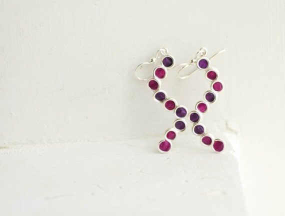 Paper Jewelry, Royal Purple Earrings, Plum Earrings, Silver Circle Earrings