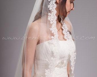 Alencon Lace Bridal Veil Single Layer, Beaded Lace Wedding Veil - Selma