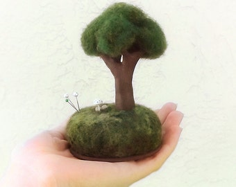 Miniature Tree Sculpture, Spring Decor, Gift for Mom, Nature Scene Pincushion, Crafty Mom Gift, Tree Lovers Gift, Made To Order Gift Mom