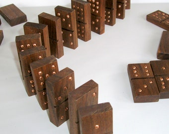 Handmade Dominoes of Black Walnut Wood Double 9 in Leather Bag -- SALE -- was 75.00