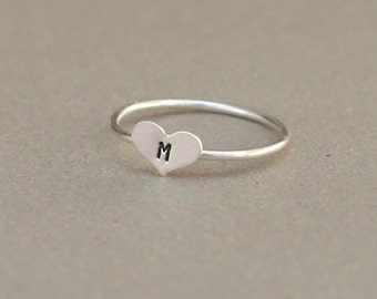 initial ring. heart ring. sterling silver stacking RING. hand stamped letter. custom initial jewelry. gift for her.