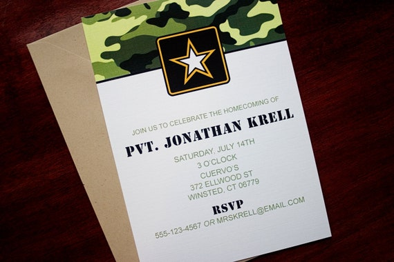 Army Wedding Invitations: Items Similar To Army Party Invitation Or Announcement On Etsy