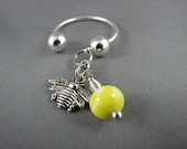 Yellow Beaded Wasp Charm Horseshoe Keychain