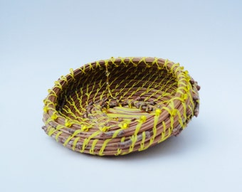 Beaded Yellow Pine Needle Basket, Brown and Yellow, Home Decor