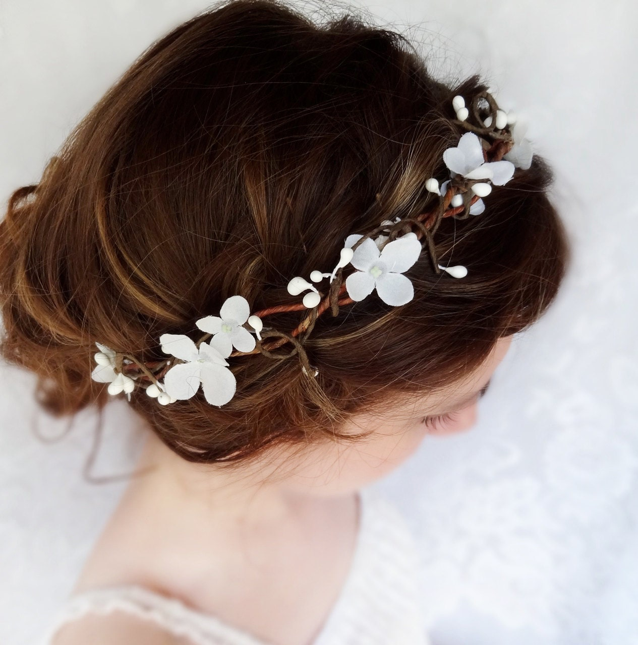 white flower hair garland flower girl circlet bridal hair