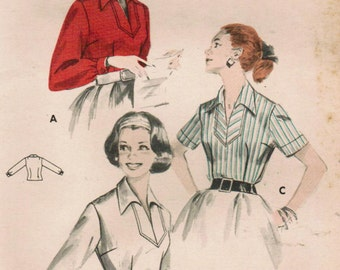 1950s Butterick 8398 Vintage Sewing Pattern Misses Pullover Blouse, Polo Blouse Size 12 Bust 32
