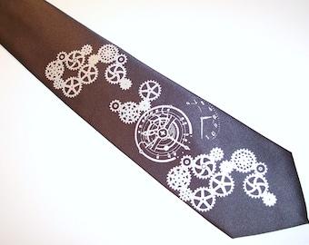 Necktie print to order Clock Works Design watch gears custom colors