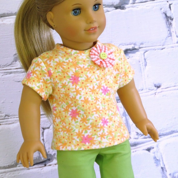 Freshly Picked - American Girl Doll Clothes Tee Shirt Top, reconstructed Gymboree